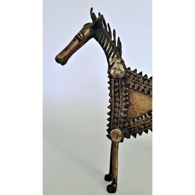 1960s Vintage Brutalist Solid Brass Horse Sculpture For Sale - Image 4 of 13