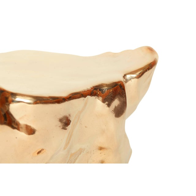 2010s Hand Casted and Polished Bronze Stool For Sale - Image 5 of 9