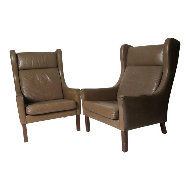 Borge Mogensen Wingback Chairs - Set of Two For Sale