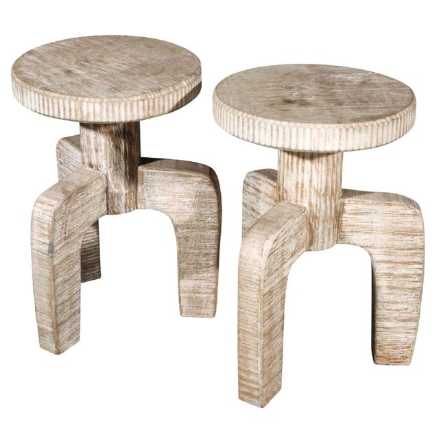 African Inspired Tribal Cerused Stools - a Pair For Sale In New York - Image 6 of 6