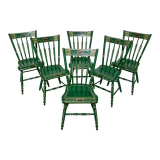 19th Century Pennsylvania Folk Art Painted Windsor Chairs - Set of 6 For Sale