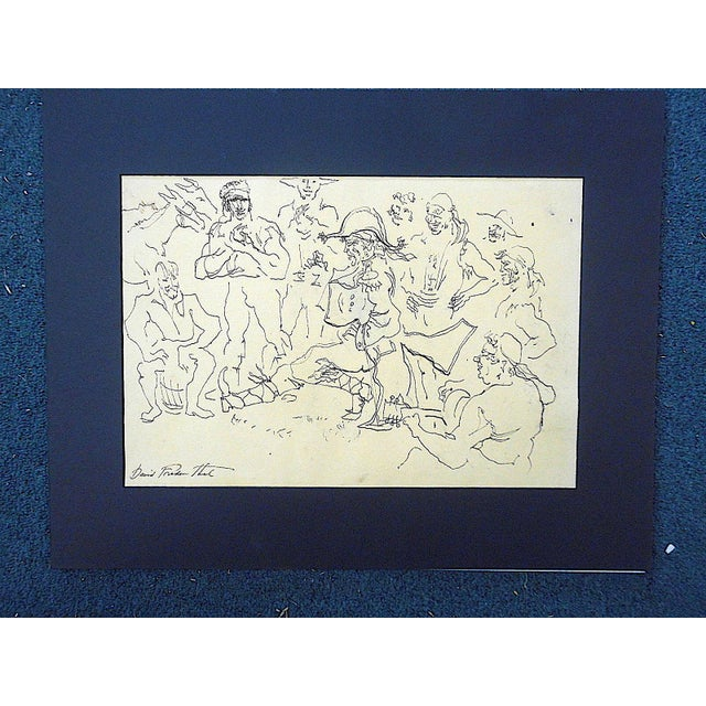 Illustration Original Vintage Mid 20th Century Signed Drawing-D. Fredenthal-Listed American Artist For Sale - Image 3 of 4