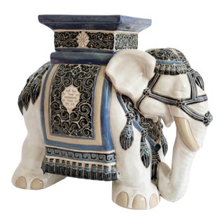 Painted Ceramic Elephant Plant Stand or Side Table For Sale