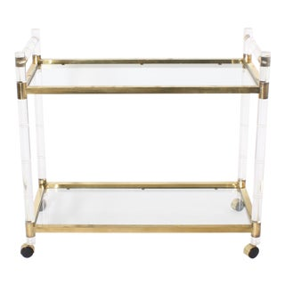 Lucite and Brass Faux Bamboo Drinks Cart, C. 1970