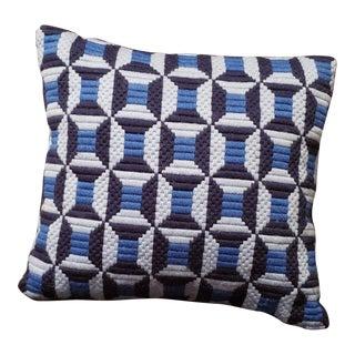 Mid Century Modern Blue Geometric Needlepoint Pillow With Velvet Back For Sale