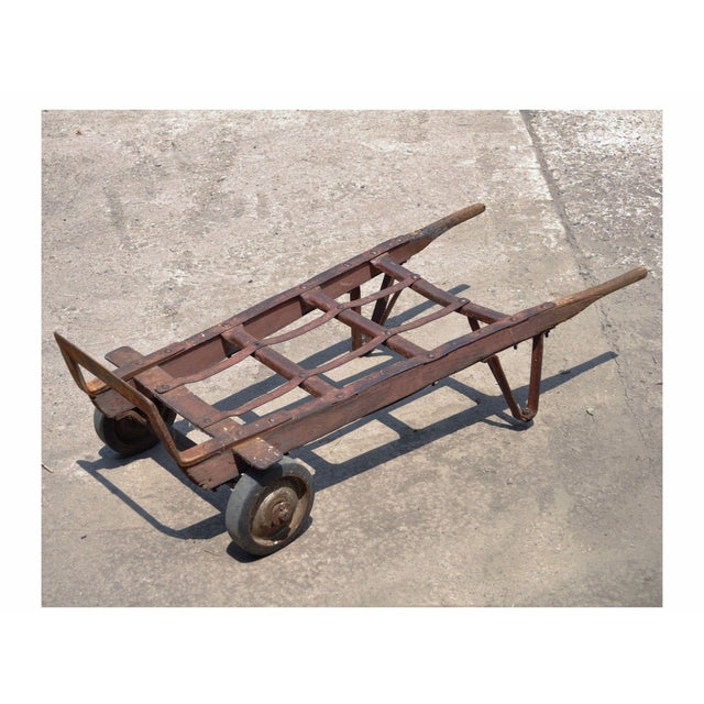 Antique Industrial Steampunk Distressed Iron Amp Wood Hand Truck Cart Coffee Table Chairish