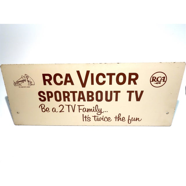 Rca Portable Tv Advertising Sign Circa Mid-20th Century Brown Over Beige on Wood For Sale In Dallas - Image 6 of 13