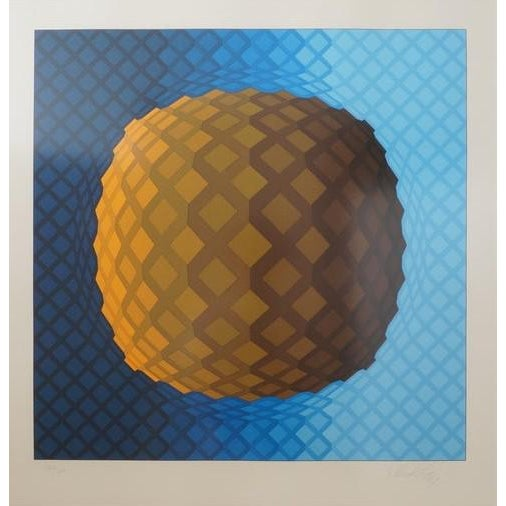 1970s Vintage Vasarely Pencil Signed and Numbered Limited Edition 226/250 Op Art Original Print Custom Mirror Framed For Sale - Image 5 of 12