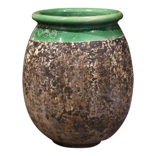 Large French Terracotta Olive Jar With Green Glazed Neck From Provence For Sale
