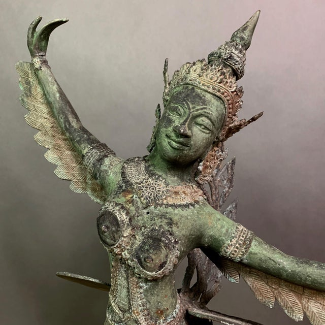 """An exceptional large scale 30"""" tall bronze statue of the mythological Kinnaris. Depicted here as half-bird, half-woman..."""