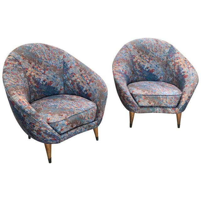 Fabric 1958 Federico Munari Mid-Century Italian Curved Lounge Chairs For Sale - Image 7 of 7