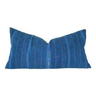 Indigo Striped Guatemalan Bolster Pillow Cover For Sale