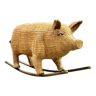 Mid-Century Modern Wicker and Metal Rocking Pig Sculpture