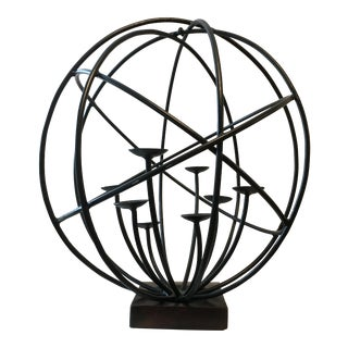 Wrought Iron Sphere Candle Holder For Sale