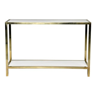 Italian White Marble and Brass Console For Sale
