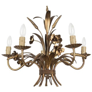 1960s Italian Gilt Tole Chandelier For Sale