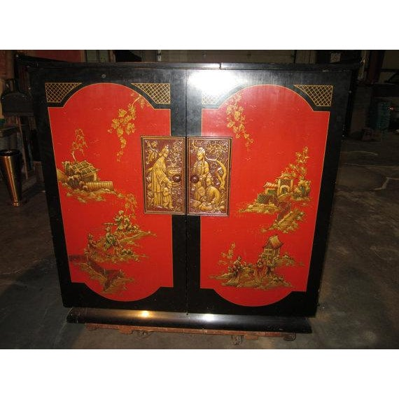 Chinoiserie Red Lacquer Cabinet Tube Radio - Image 2 of 10