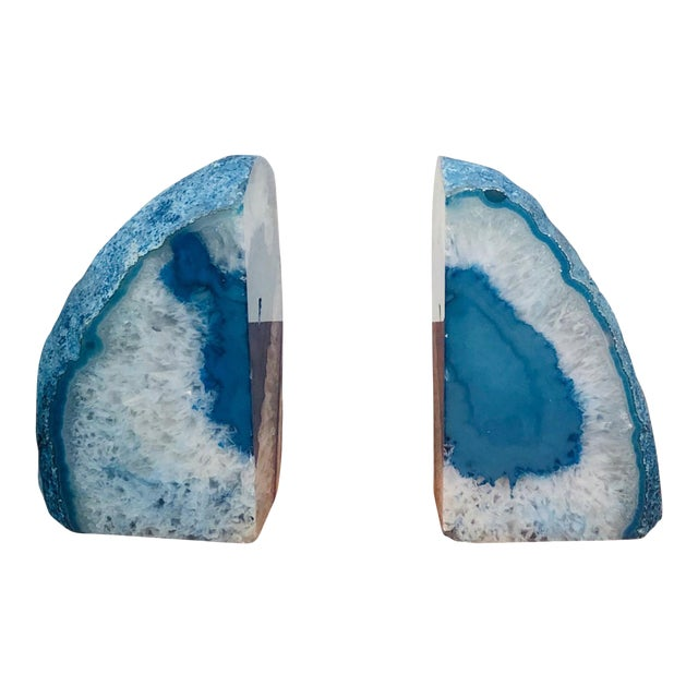 Mid 20th Century Petrified Wood Book Ends in Sky Blue For Sale