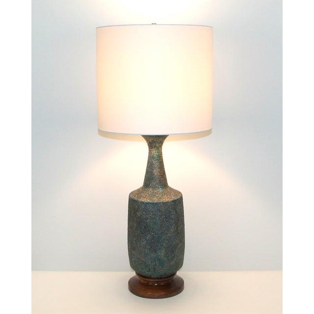 Mid-Century Blue Green Lava Glaze Lamp - Image 6 of 6