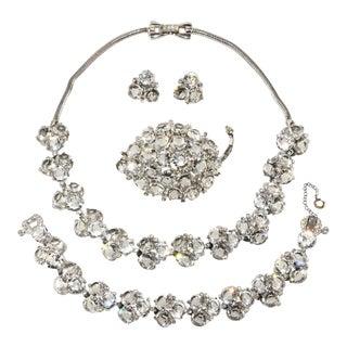 Reja Clear Rhinestone Parure Set Necklace Bracelet Brooch Earrings For Sale