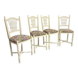 Sigla Italian Country French Style Bar Stools- Set of 4 For Sale