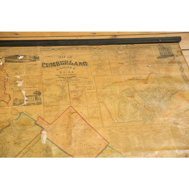 :: Antique 1860s J. Chase pull down wall map of Cumberland County, ME. Map features the plan for the city of Portland, as...