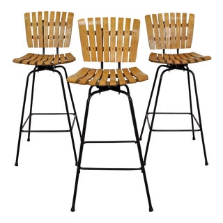 Set of 3 Mid-Century Danish Modern Arthur Umanoff Swivel Slat Bar Stools For Sale