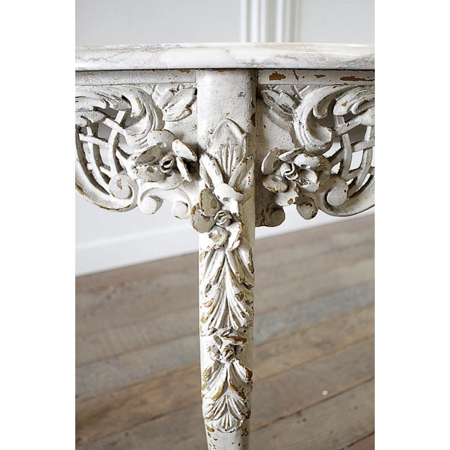 20th Century French Carved Console Table With Marble Top For Sale - Image 9 of 13