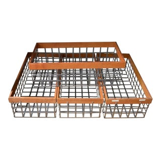 Bins Baskets of Steel and Wood; Several Vintage Sets Available - Set of 4 For Sale