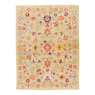 21st Century Contemporary Oushak Colorful Wool Rug For Sale