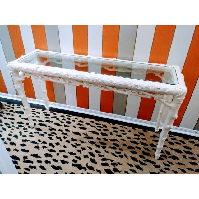 White Faux Bois Palm Beach Regency Twig, Branch Console Sofa Hall Table Serge Roche Style For Sale - Image 8 of 8
