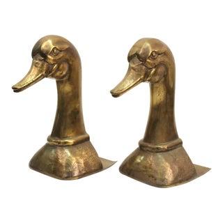 1970s Sarreid Spanish Modern Brass Duck Bookends - a Pair For Sale