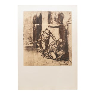 1959 Archimedes by Honoré Daumier, Vintage Hungarian Photogravure For Sale