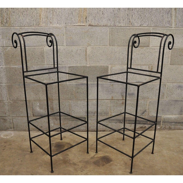 Wrought Iron Curule Frame Scroll Back Seat Bar Counter Stools - a Pair For Sale - Image 11 of 11