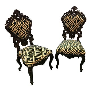 Restored Victorian Styled Carved Side Chairs - A Pair