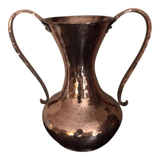 2000s Hand Hammered Copper Handled Urn / Vase For Sale