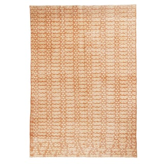 Vintage Mid-Century Geometric Beige Wool Rug - 5′9″ × 9′6″ For Sale