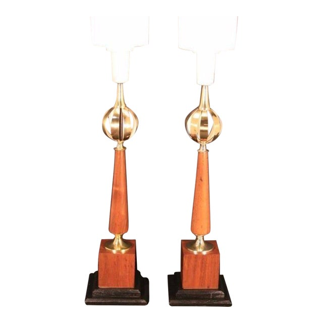 Pair of Vintage Mid Century Modern Lightolier Brass Orb Lamp Gerald Thurston Era For Sale