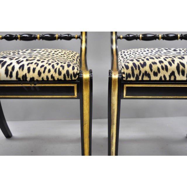 Black and Gold Regency Style Paw Feet Dining Chairs - Set of 6 For Sale In Philadelphia - Image 6 of 12