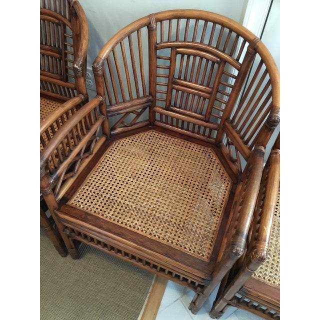 Brown 1970s Hollywood Regency Brighton Pavilion Style Bamboo Dining Set - 5 Pieces For Sale - Image 8 of 12