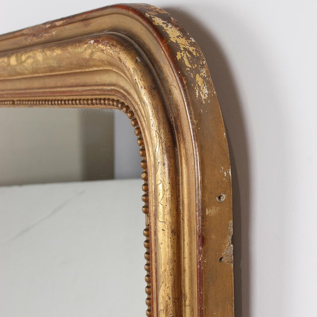 Gold 19th Century French Louis Philippe Gilt Mirror With Floral Design For Sale - Image 8 of 11