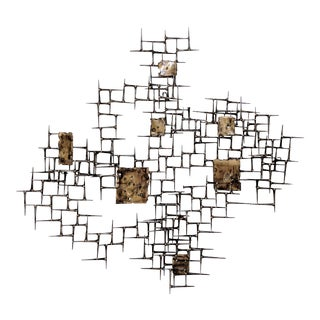 Bronze & Brass Abstract Brutalist Metal Wall Sculpture