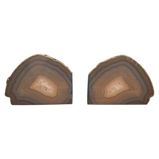 Large Blue & Grey Geode Bookends - A Pair For Sale