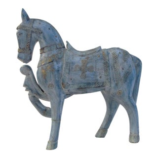 1990s Antique Blue Wood & Brass Tang Stallion For Sale