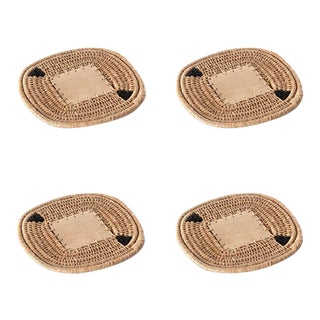 Square Coasters Flax - Set of 4 For Sale