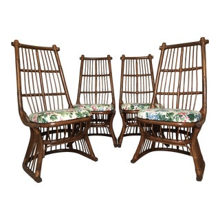 Beautiful Vintage High-Back Rattan Dining Chairs - Set Four