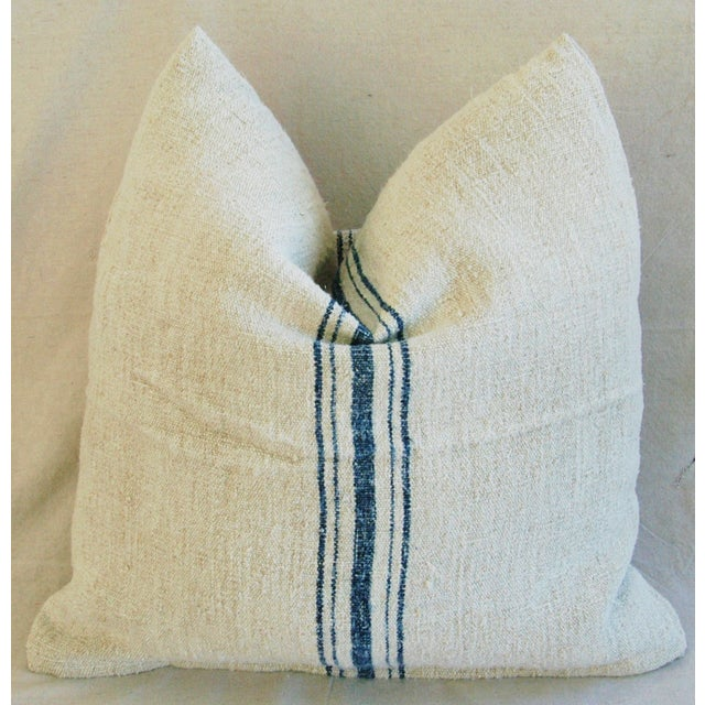 Blue Stripe French Grain Sack Pillow - Image 4 of 8