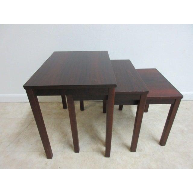 Vintage Danish Modern Rosewood Nesting Tables - Set of 3 For Sale - Image 9 of 9