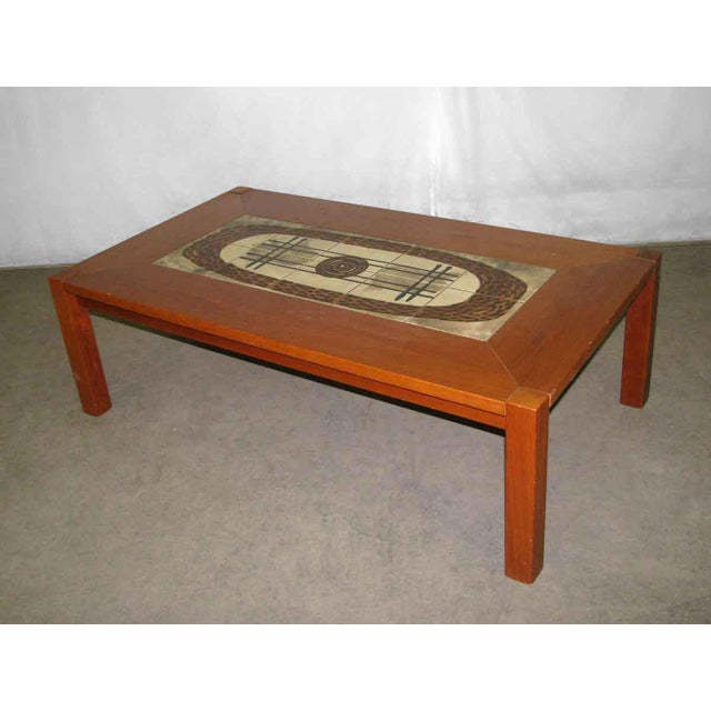 Modern Wooden Coffee Table with Tile Insert For Sale - Image 4 of 10