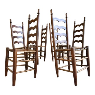 Ladder Back Bent Wood Rustic Primitive Chairs Set of Six For Sale